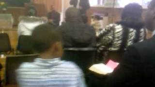Patrick singing at the Seventh-day Adventist Church.