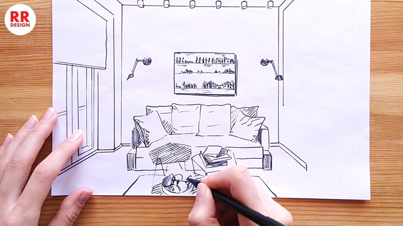 How to Draw a Small Living Room 9.9 m9 (Sketch) Design Ideas
