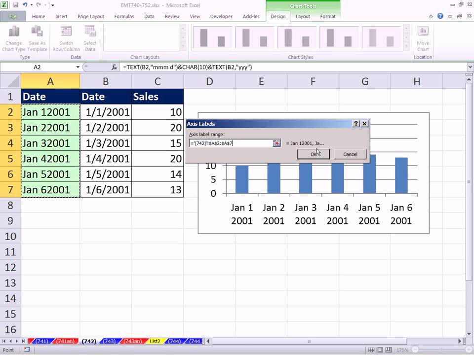 Excel Magic Trick 742 Wrap Text In Chart Label Using Char Function And Code 10 Learn Magic Tricks Learn Magic Magic Tricks
