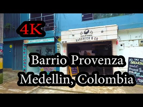 4K - Walking around Barrio Provenza, Medellín Colombia Yi 4K+