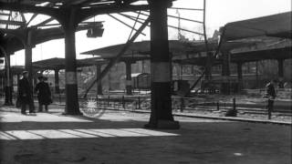 A wrecked railroad station platform in Worms, Germany during World War II. HD Stock Footage