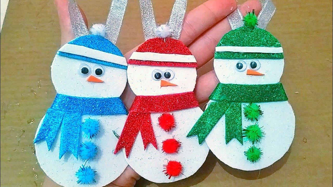 ☃️ Kağızdan Qar Adamı.How To Make a Paper Snowman İdeas.Easy Christmas Ornaments Diy.Craft.Creative