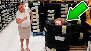 Pique esconde no supermercado  com Dany Cadu e Vovó Graça  Disfarce  do  pneu