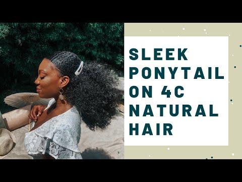 sleek-down-ponytail-on-short-4c-natural-hair-|-drawstring-ponytail-styles
