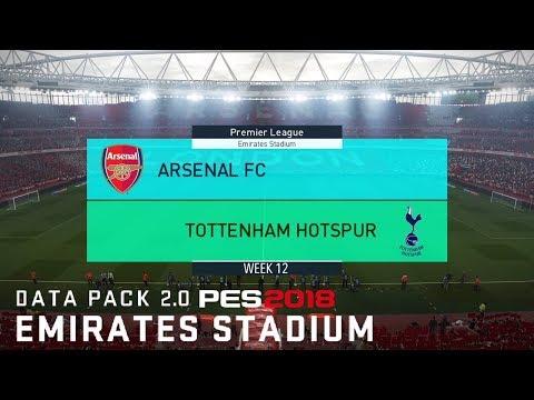 PES 2018 Data Pack 2 @ New Emirates Stadium (Rainy) - Arsenal v Tottenham |PL Week 12|