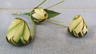 Cách làm nụ hoa hồng bằng lá dừa đơn giản đẹp