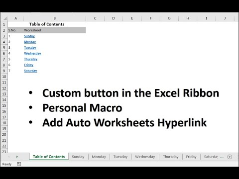 VBA Tip: Create Auto Table of Contents in Excel Workbook