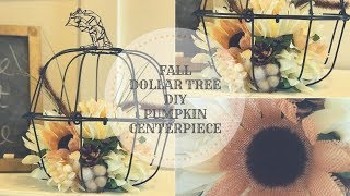 FALL DOLLAR TREE DIY FLORAL METAL PUMPKIN CENTERPIECE