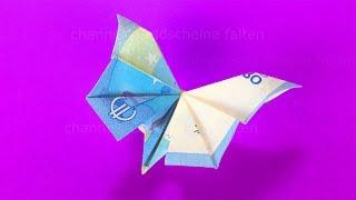 Repeat youtube video Geldschein falten Schmetterling - Geldgeschenke basteln - Geld falten Hochzeit