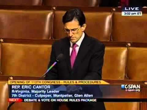 Majority Leader Cantor Introduces Rules Package For The 113th Congress