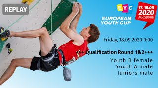 Qualification Round 1\u00262 for Youth B female, Youth A \u0026 Juniors male, European Youth Cup - Augsburg