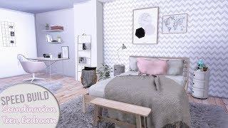 SCANDINAVIAN TEEN BEDROOM + CC Links | The Sims 4 Speed Build