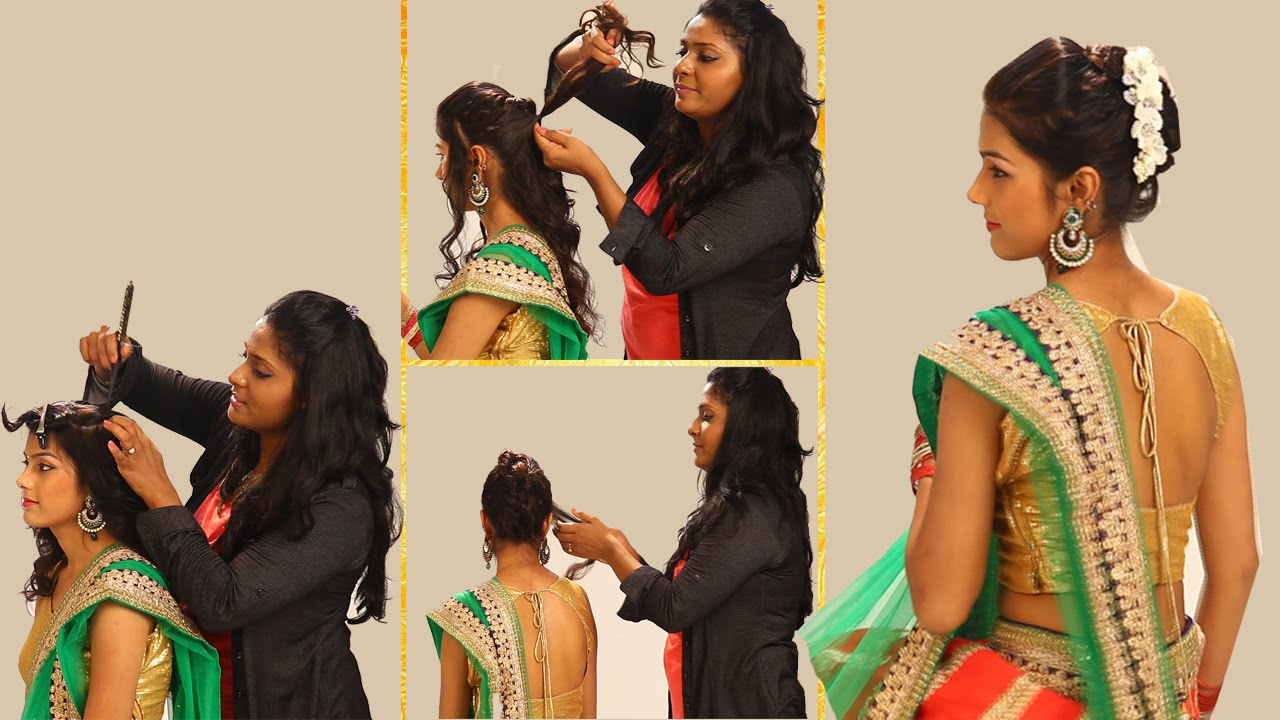 Indian Simple Hairstyles For Wedding To Do Yourself Twist And Flip Bun Hairstyle Fortraditional Sari