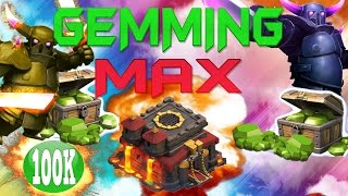 "CLASH OF CLANS - $1200! GEMMING TO MAX TOWN HALL 10 / GEM SPREE! ""MAX PEKKAS +FUNNY MOMENTS"" EP123"