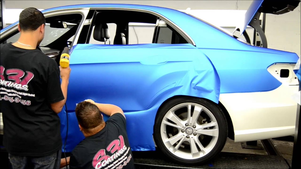 631 Coatings wrap a Matte Blue Benz - YouTube