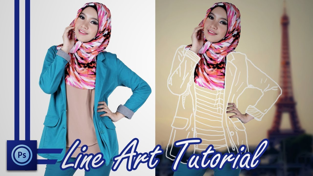 Line Art Effect Photoshop Tutorial : Line art!! clothes effect photoshop tutorial youtube