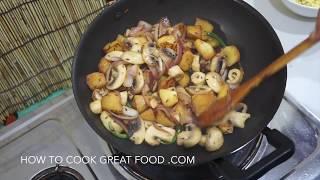 ★★ Indian Potato Mushroom Fry -  मशरूम आलू फ्राई - Vegan Recipe