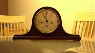 PEERLESS TRIPLE CHIME NAPOLEAN HAT MANTLE CLOCK - WINCHESTER FROM FRONT
