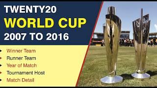 Twenty20 World Cup Winner Team 2007 to 2016 with Match Year, Match Detail, Runner Team Name