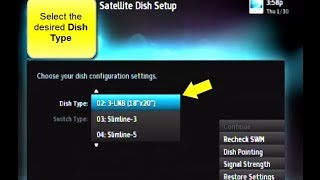 how to set the dish type on a directv receiver