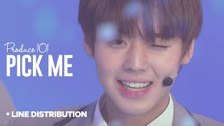 PRODUCE 101 - Pick Me (나야나) : Line Distribution (Color Coded | Season 2)