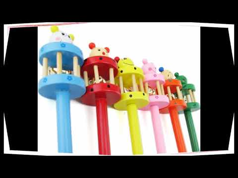 Kids Musical Instrument Toy Rattles Cartoon Wooden Sound Hammer Animal Hand Bells Xmas Gift