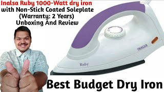 Inalsa Ruby 1000-Watt dry iron with Non-Stick Coated Soleplate Warranty 2 Years Unboxing amp Review
