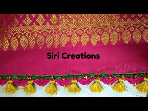 Download Saree Kuchu #16/crochet/ how to do crochet / krosha Saree kuchu using crystal beads