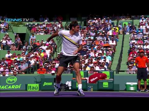 Federer insane behind-the-back volley | Miami Open 2018