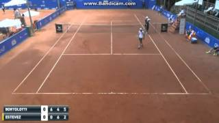Maximiliano Estevez retires at 0-6 6-4 2-5* 0-30 in R2 of the 2016 Sao Paulo Challenger