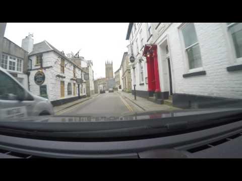 Driving in Penzance, Cornwall, UK along the coast
