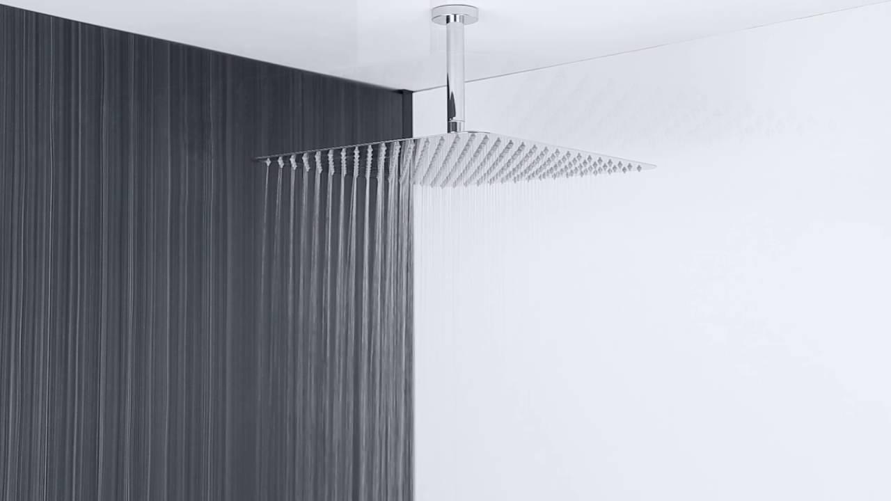 Soffione doccia fisso quadrato ultrapiatto a soffitto 400x400mm sottile hudson reed youtube - Soffione doccia soffitto ...