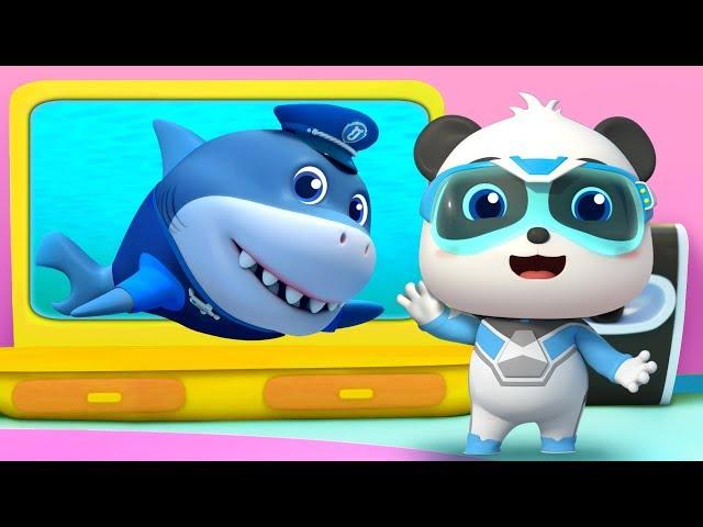 Police Shark Vs Bid Bad Wolf   Baby Shark   Kids Cartoon   Kids Videos   Kids Songs   BabyBus