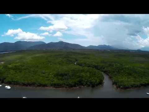 Aerial 360 view over Smiths Creek Trinity Inlet Cairns