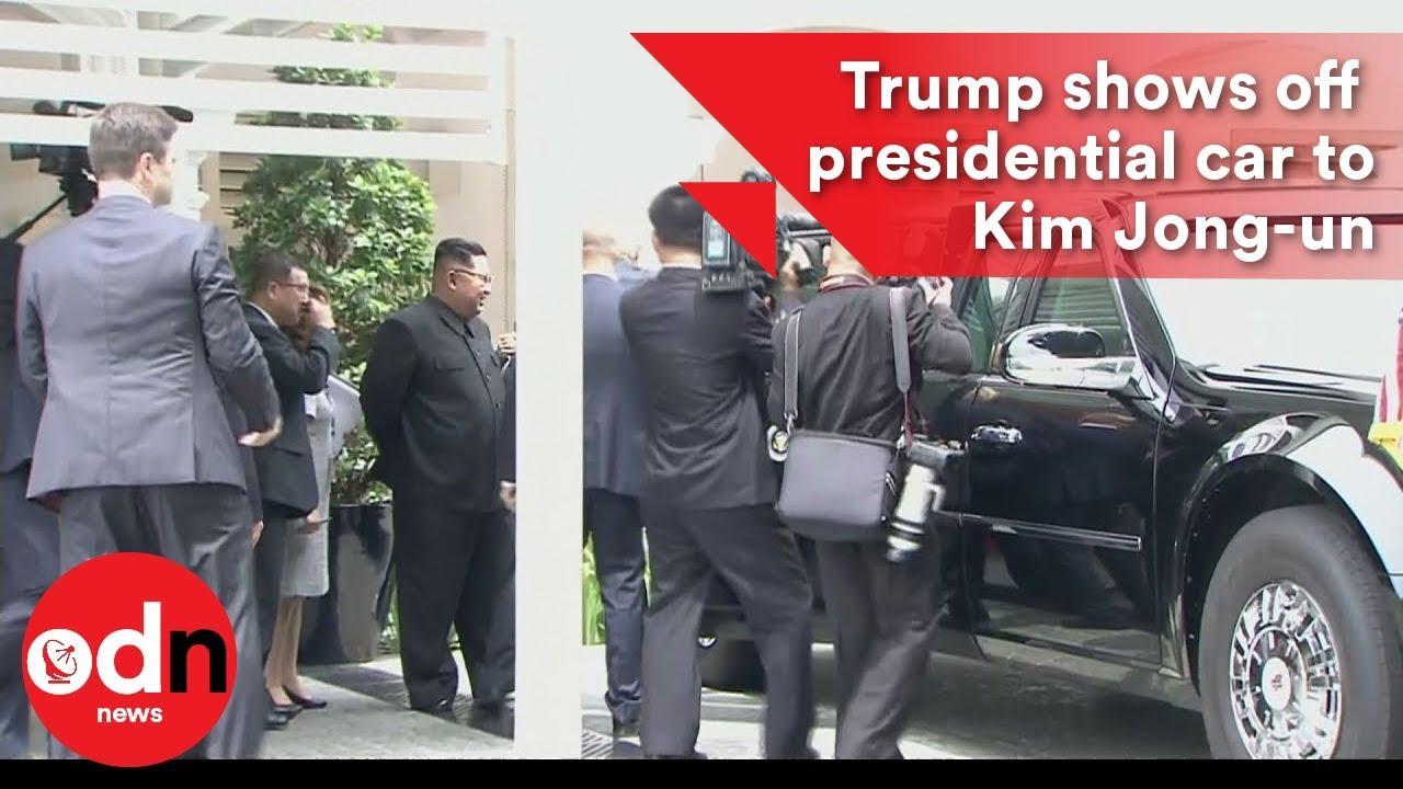 trump shows off his presidential car to kim jong-un - youtube