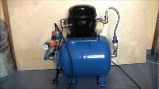 Самодельный компрессор для аэрографа(Тихий компрессор на основе компрессора от холодильника, для использования с аэрографом, собранный своими..., 2012-09-30T12:29:20.000Z)