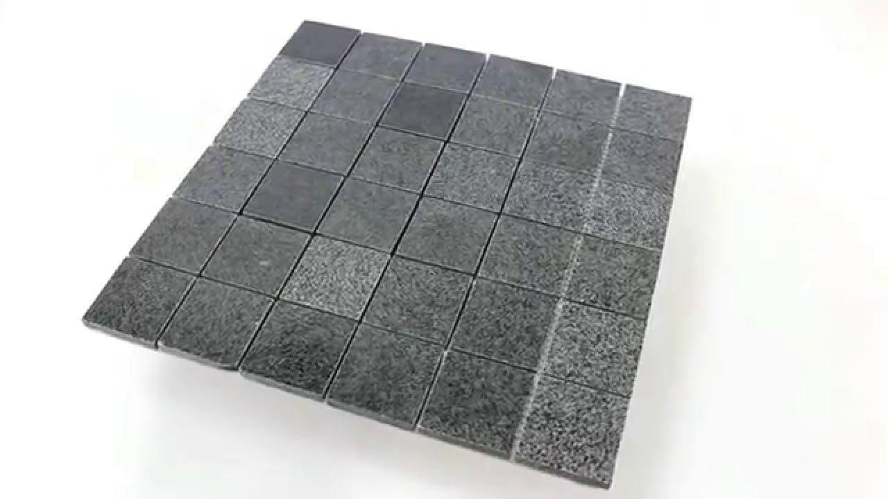 granit naturstein mosaik fliesen anthrazit poliert youtube. Black Bedroom Furniture Sets. Home Design Ideas