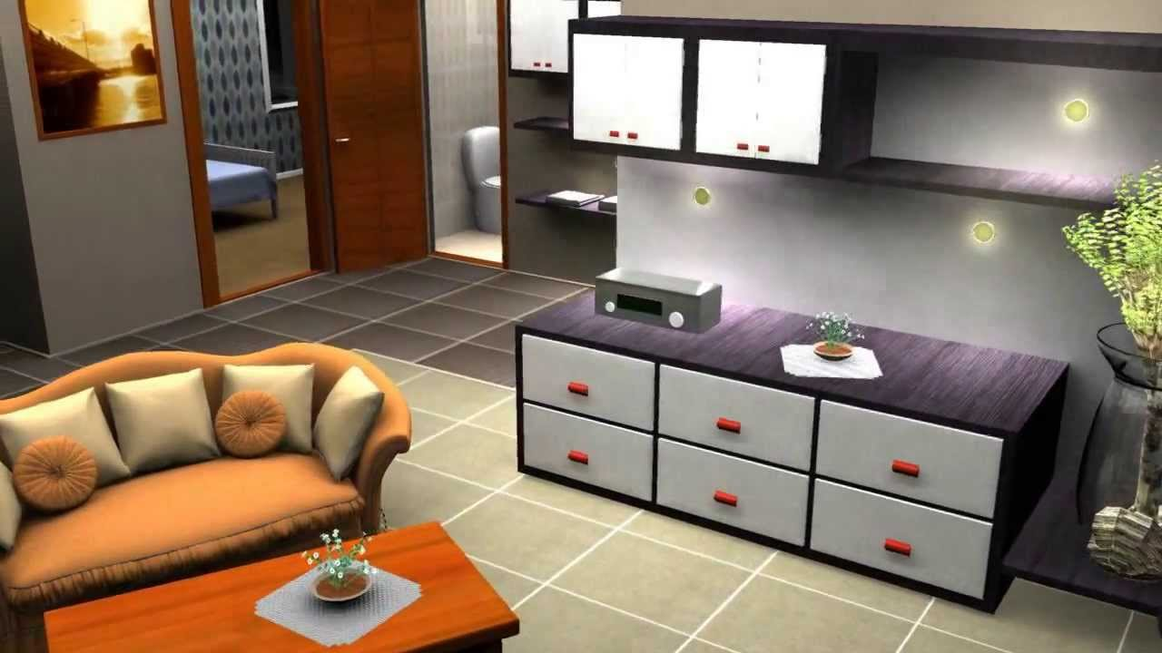 3d maya house interior visualisation 2009 youtube for 3d house room design