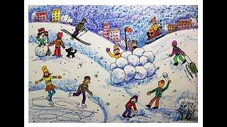 Как нарисовать фигуру человека в движении поэтапно. Зимний пейзаж.Видео урок для детей 6-8 лет.(Зимний пейзаж. Как рисовать человека поэтапно в движении? Легко! Смотрите видео урок