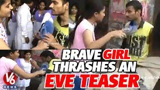 A brave girl thrashes an eve teaser in public at Uttar Pradesh