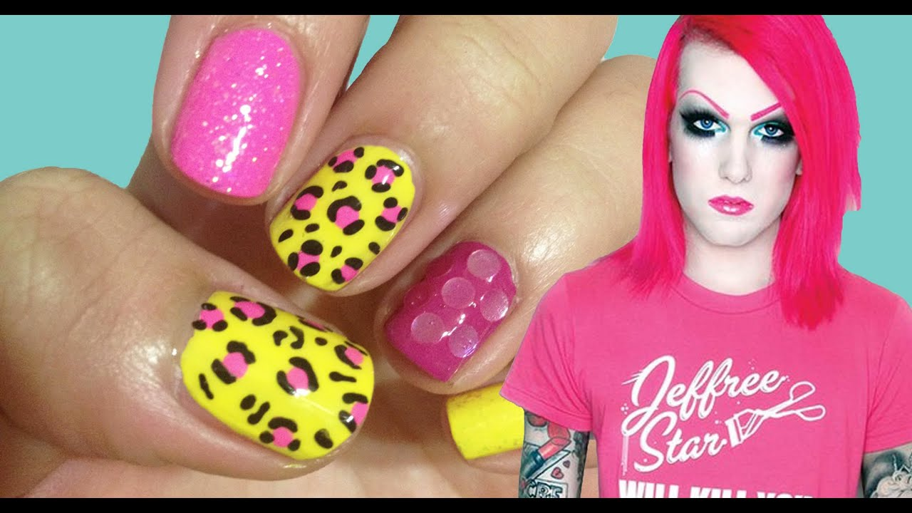 JEFFREE STAR  Neon Cheetah with Glitter Inspired Nails  YouTube