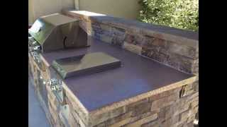 Outdoor BBQ Island, outdoor kitchen, concrete countertop