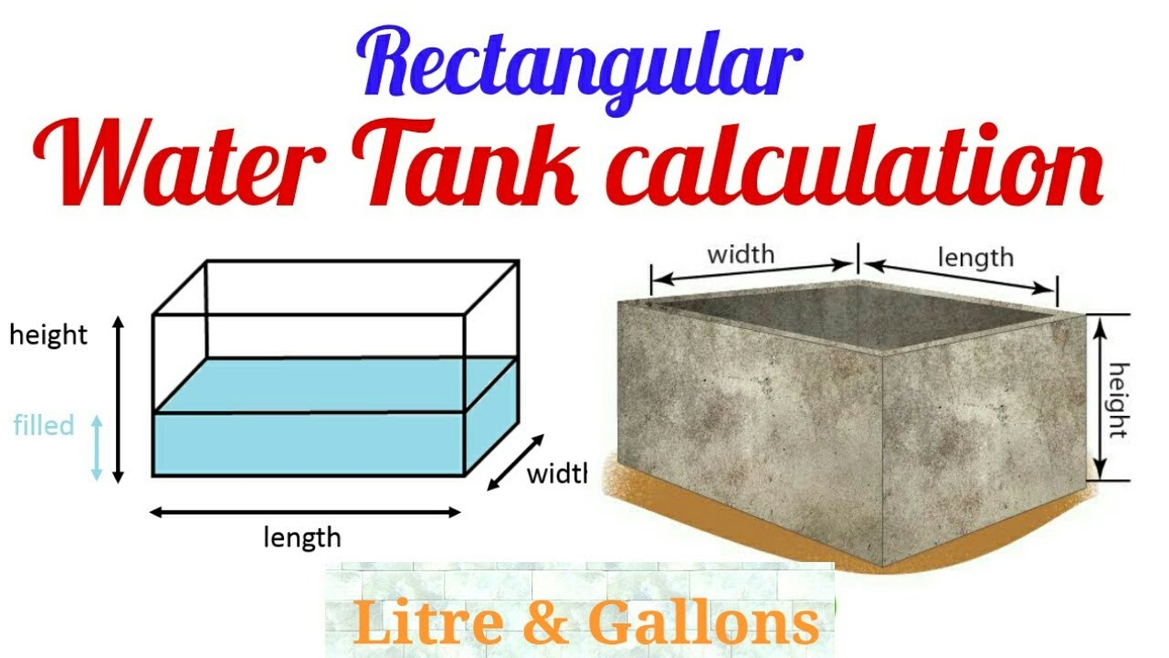 How To Calculate Rectangular Water Tank Capacity  How to calculate water  in tank  litre & Gallons