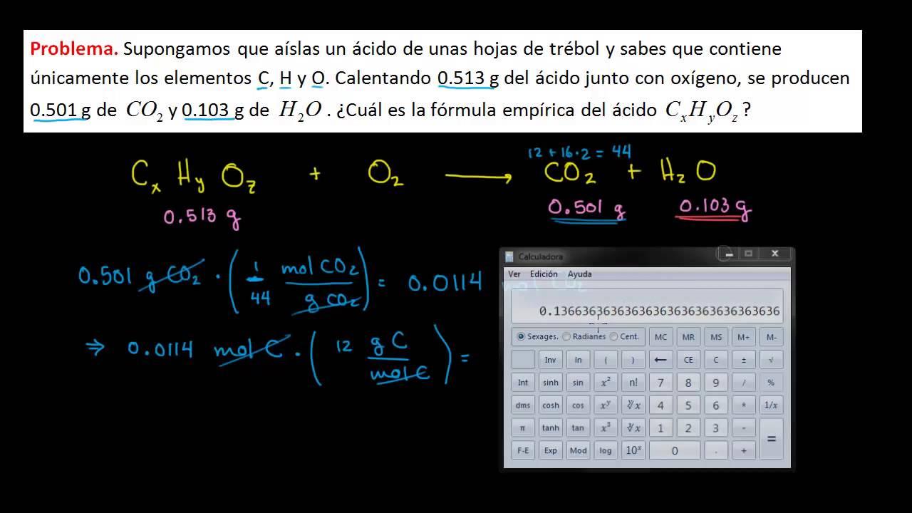 Encontrar la fórmula empírica de un reactivo. Ejemplo - YouTube
