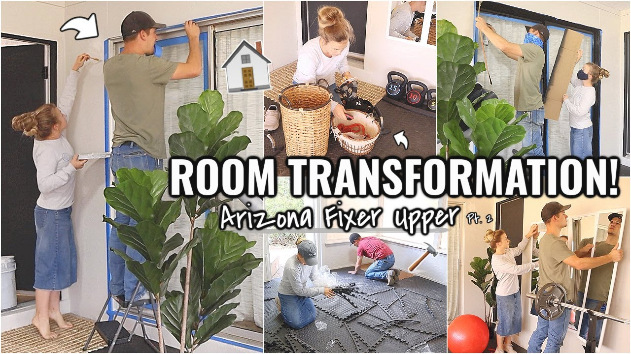 COMPLETE ROOM TRANSFORMATION!!🏠 (part 2) BEFORE AND AFTER OF OUR ARIZONA FIXER UPPER | AT HOME GYM