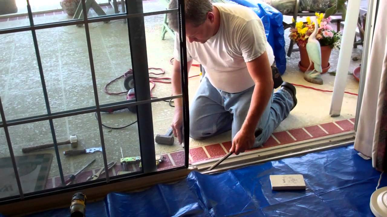Roller Wheel Sliding Glass Door Install 1 Mp4 Youtube