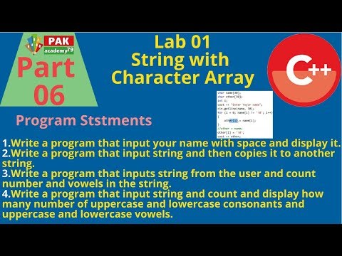 String Handling With Character Array | Lab Part 01