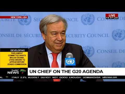 UNSG, Antonio Guterres  briefs the media on the G20 summit