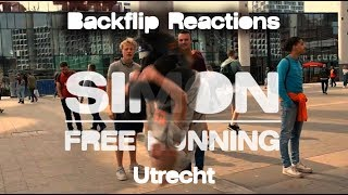 Simon Freerunning in Utrecht - funny Backflip Reactions #BackflipChallenge !!