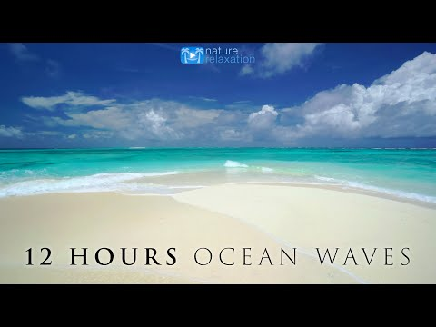 "12 HOUR 4K Ocean Waves Video & Sounds: Perfect Beach Scene ""White Sand, Blue Water"" Fiji Islands"